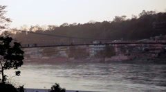 Rishikesh's Suspension Bridge, Lakshman Jhula Stock Footage
