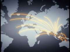 Animated routes from South East Asia Stock Footage