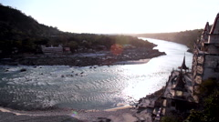 Ganges River in Rishikesh Stock Footage