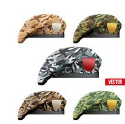 Set of Military Camo Beret Special Forces - stock illustration