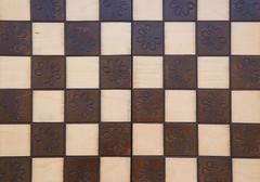 handmade chessboard - stock photo