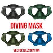 Set of Underwater diving scuba mask. Vector Piirros