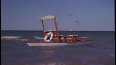 Traditional pedalo, rimini, italy, old film effect Stock Footage