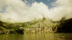 Mountain lake panorama landscape - nature background - cloudscape Stock Footage