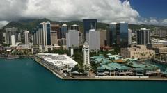 Stock Video Footage of aerial, aloha tower, downtown, .honolulu, oahu, hawaii
