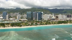 Aerial,ala moana beach park, .honolulu, oahu, hawaii Stock Footage