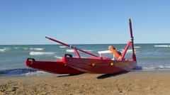 Typical red rescue boat, Rimini, Italy, slow motion Stock Footage