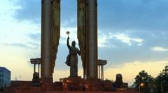 Ismoil Somoni Monument. Time Lapse. Dushanbe, Tajikistan Stock Footage