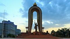 Ismoil Somoni Monument. Time Lapse. Dushanbe, Tajikistan. 1280x720 Stock Footage