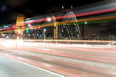 Traffic light trail Stock Photos