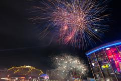 fireworks in darling harbour - stock photo