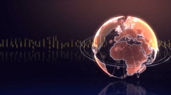 Rotated earth sphere shows international interconnected economy Stock Footage