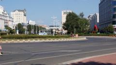 Heihe city Tongjiang street traffic 02 Stock Footage