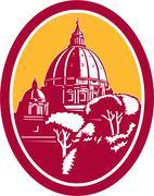 dome of st peter's basilica vatican retro - stock illustration