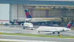 Delta Airlines Hangar in Atlanta International Stock Footage