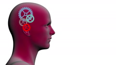 Rotating  gears inside of the head Stock Footage