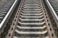 Railway track with selected focus Stock Photos