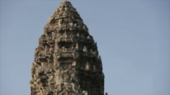 Angkor movement ruins temple tower closeup - stock footage