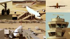 aviation background - split screen - airport airplane - jet boing business - stock footage