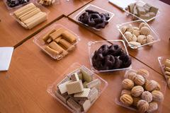Dessert with biscuits and wafers Stock Photos