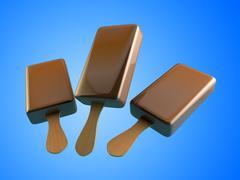 Chocolate ice cream 3d illustrations. Stock Illustration