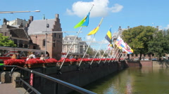 Flags in The Hague, Holland Stock Footage