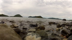 Stock Video Footage of USVI Waves Crashing on beach rocks.