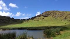 Rano Raraku, Easter Island, Rapa Nui Stock Footage