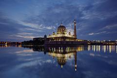 Sunrise at Shah Alam Mosque,  Malaysia - stock photo