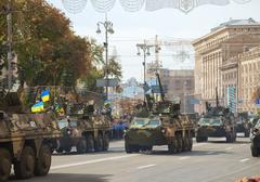 modern ukrainian armored troop-carriers bucephalus in kyiv - stock photo