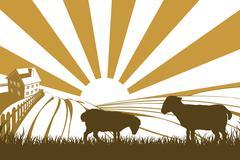 Silhouette sheep or lambs on farm Piirros