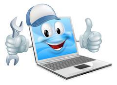 cartoon laptop computer repair mascot - stock illustration