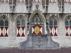 "Entree of the Gothic hall from the city ""Middelburg"" in Holland - stock photo"
