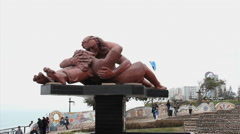 Stock Video Footage of Parque del Amor, Miraflores, Lima, Peru  - Statue The Kiss