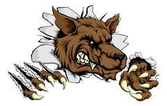 werewolf or wolf clawing through - stock illustration