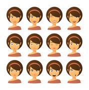 Female avatar expression set Piirros