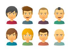 Stock Illustration of male avatars with various hair styles