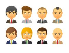 Male avatars wearing suit with various hair styles Stock Illustration