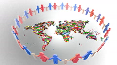 Stock Video Footage of World and family. Loop animation, People Holding Hands Around the world map 3d