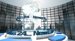 "3D Computer generated globe animation for a ""news"" background Stock Footage"