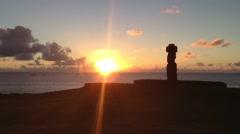 Moai sunset at Hanga Roa, Easter Island, Rapa Nui Stock Footage