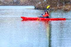 winter kayaking - stock photo