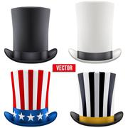 Set of tall gentleman hat cylinder. Vector Illustration. - stock illustration