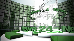 "3D Computer generated globe animation for a ""news"" background, green - stock footage"