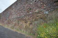a wall rebuilt - stock photo