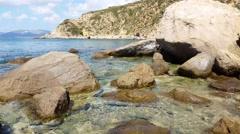 Waves hitting rocks - Rocky beach 4K Stock Footage