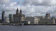 Tracking shot of liver buildings and liverpool skyline Stock Footage