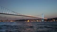 Bosphorus bridge day to night time lapse Stock Footage