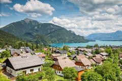 st gilgen village at wolfgangsee in austria - stock photo