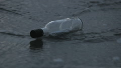Message in a bottle at sea, close up Stock Footage
